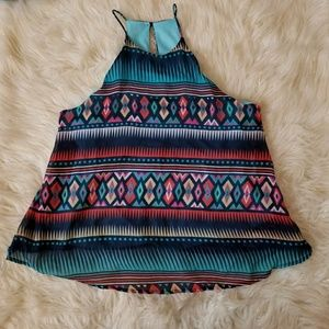 Everly Aztec Flowy Tank Sz S